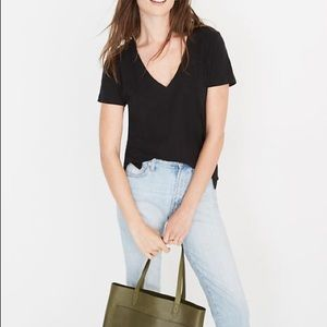 Madewell Whisper Cotton V-Neck Pocket Tee Black